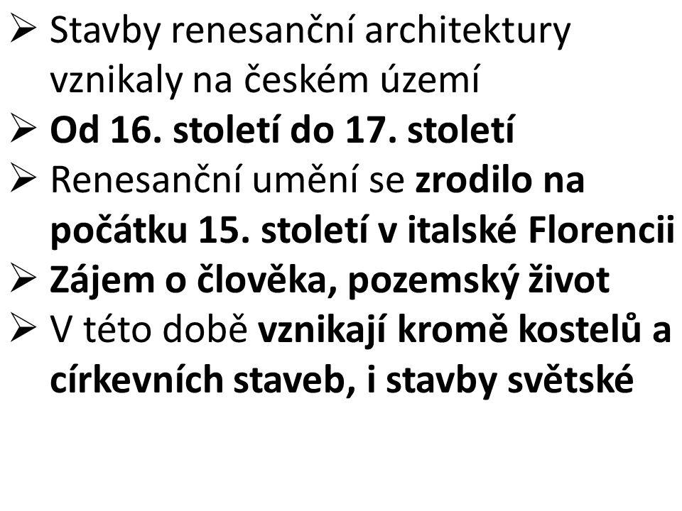 Stavby renesanční architektury vznikaly na českém území