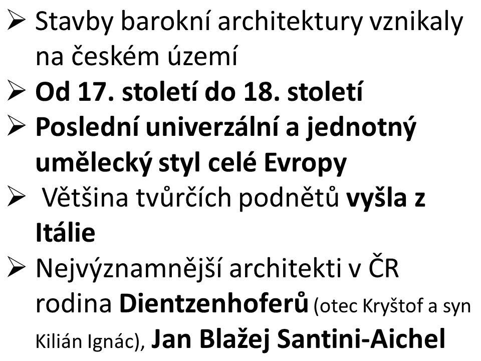 Stavby barokní architektury vznikaly na českém území