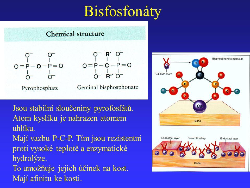 Bisfosfonáty Jsou stabilní sloučeniny pyrofosfátů.