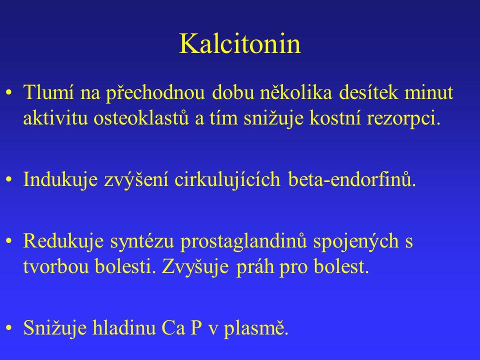 Kalcitonin Tlumí na přechodnou dobu několika desítek minut aktivitu osteoklastů a tím snižuje kostní rezorpci.