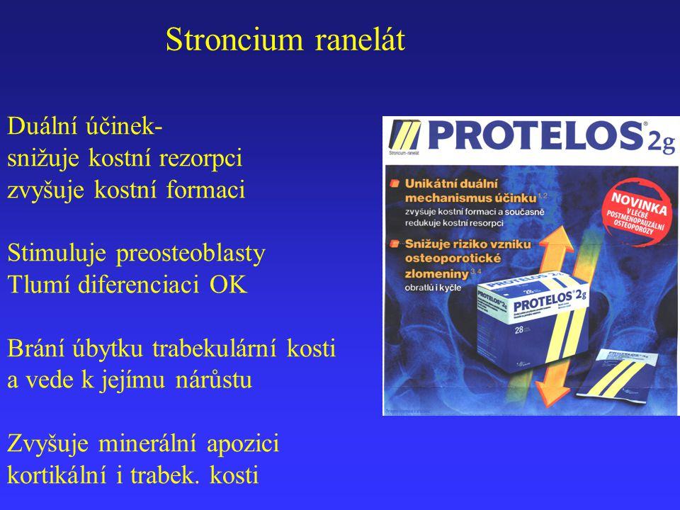 Stroncium ranelát Duální účinek- snižuje kostní rezorpci