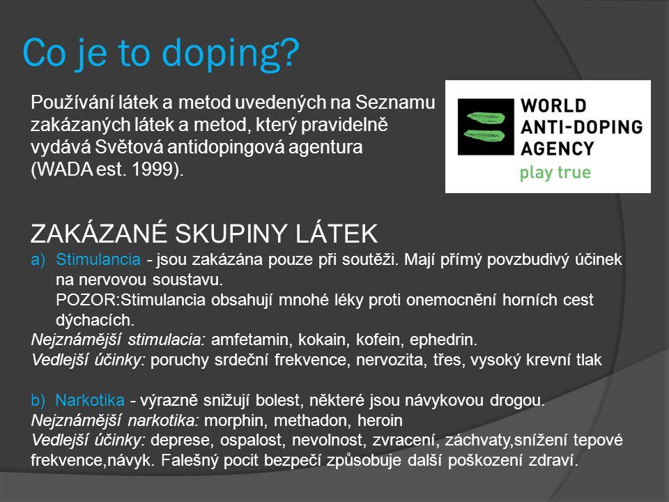 Co je to doping ZAKÁZANÉ SKUPINY LÁTEK