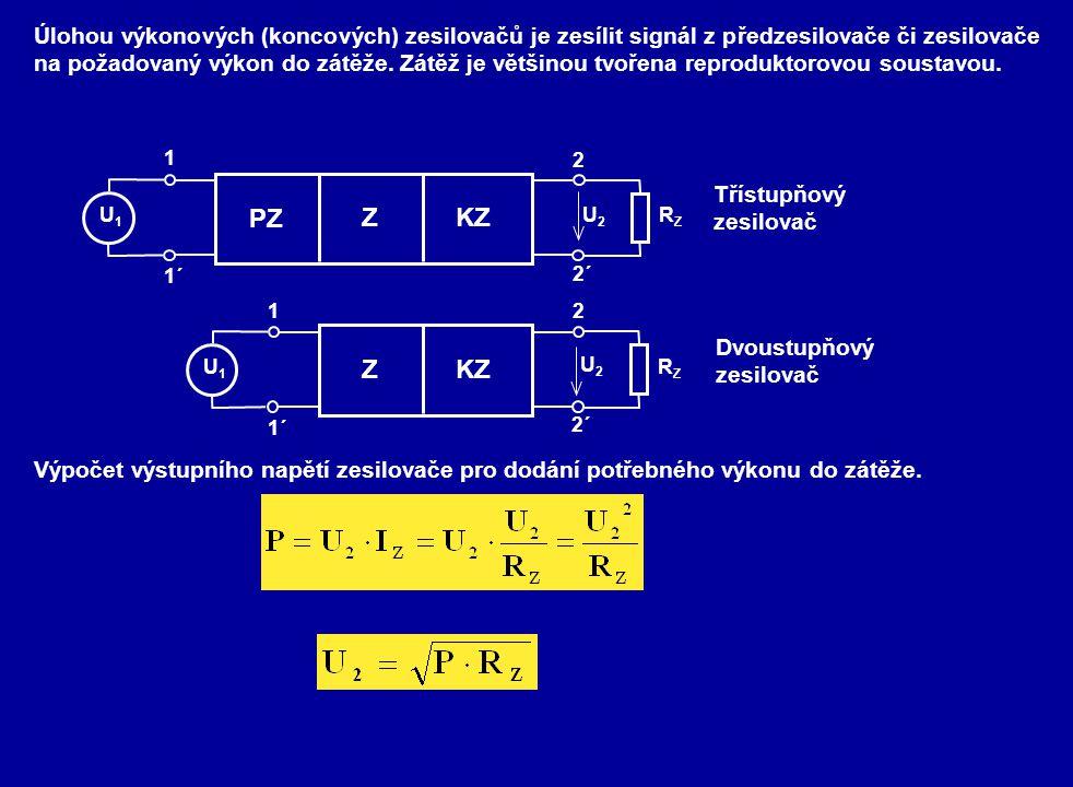 Úlohou výkonových (koncových) zesilovačů je zesílit signál z předzesilovače či zesilovače na požadovaný výkon do zátěže. Zátěž je většinou tvořena reproduktorovou soustavou.