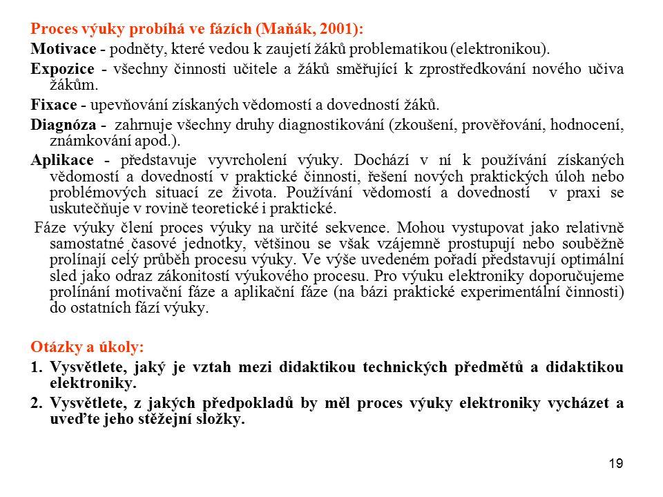 Proces výuky probíhá ve fázích (Maňák, 2001):
