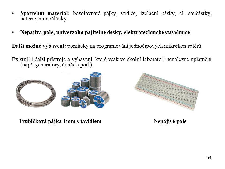 Spotřební materiál: bezolovnaté pájky, vodiče, izolační pásky, el