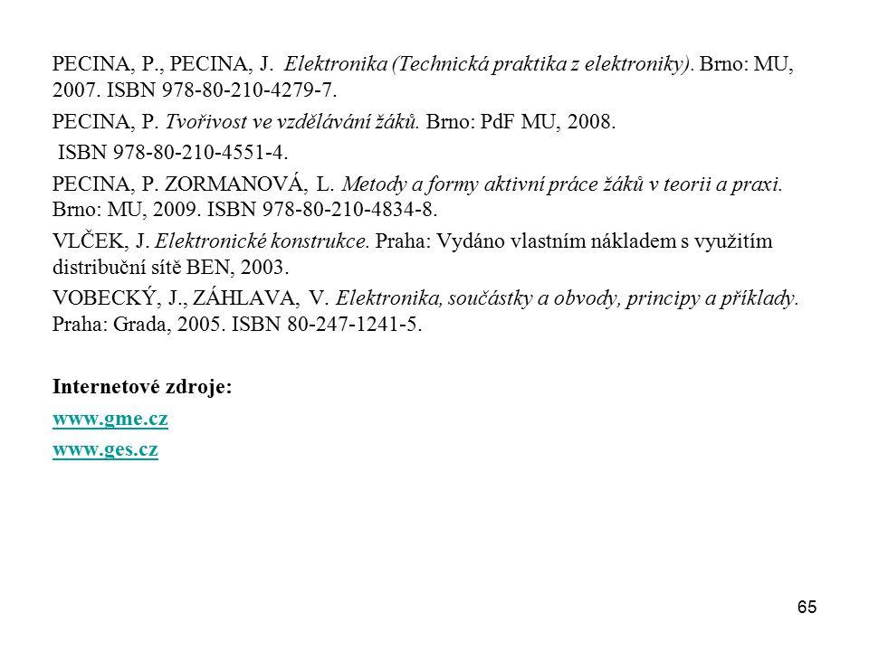PECINA, P. , PECINA, J. Elektronika (Technická praktika z elektroniky)