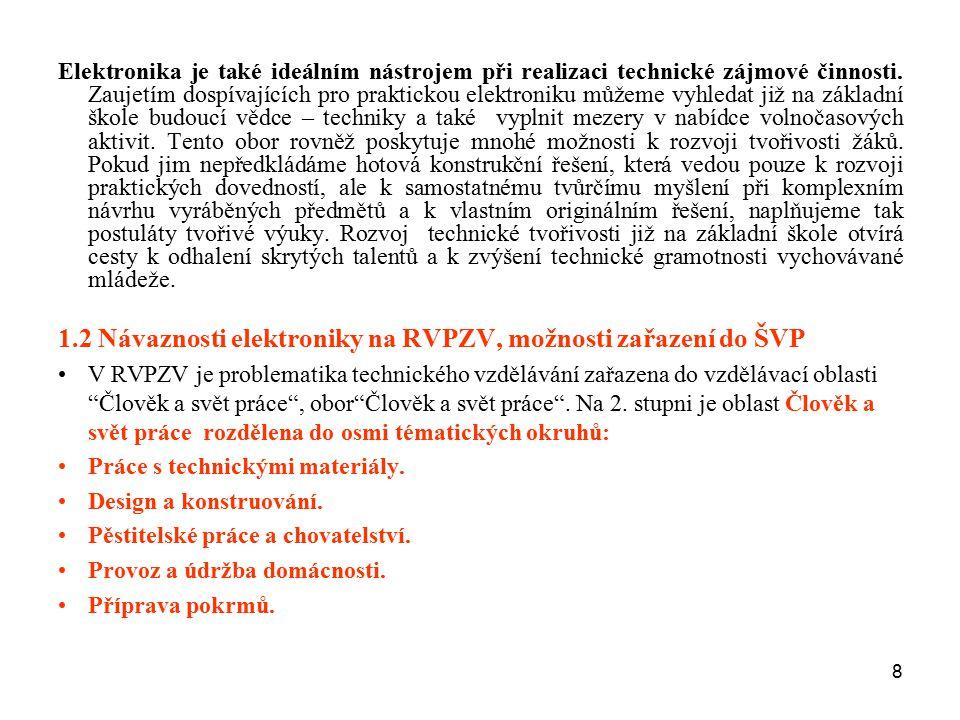 1.2 Návaznosti elektroniky na RVPZV, možnosti zařazení do ŠVP