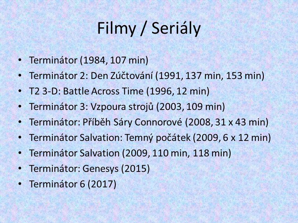 Filmy / Seriály Terminátor (1984, 107 min)