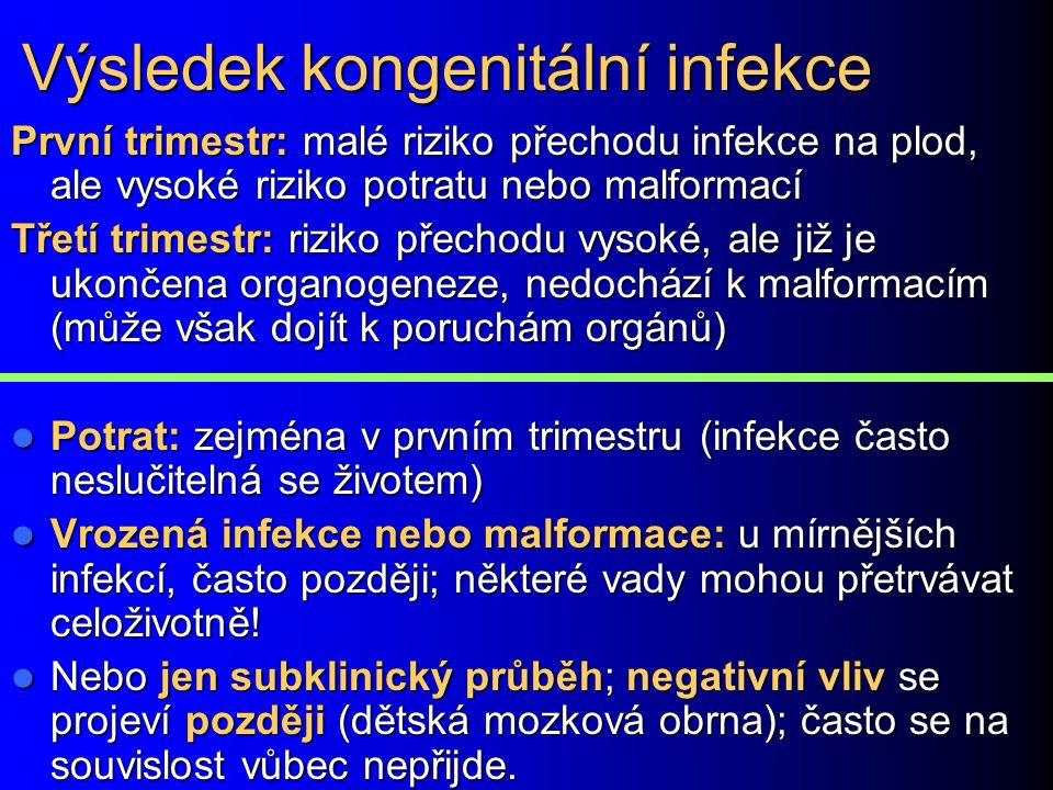 Výsledek kongenitální infekce