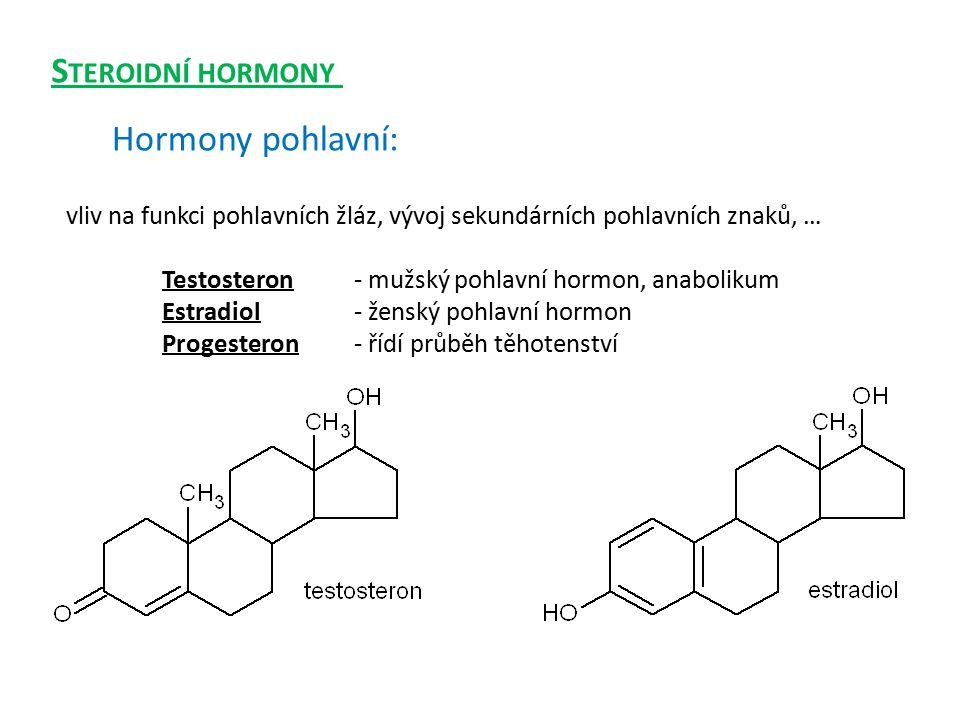 Steroidní hormony Hormony pohlavní: