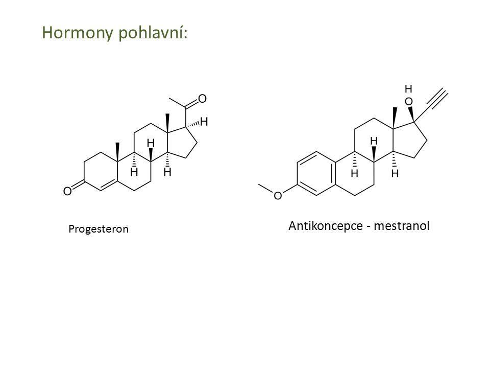 Hormony pohlavní: Antikoncepce - mestranol Progesteron