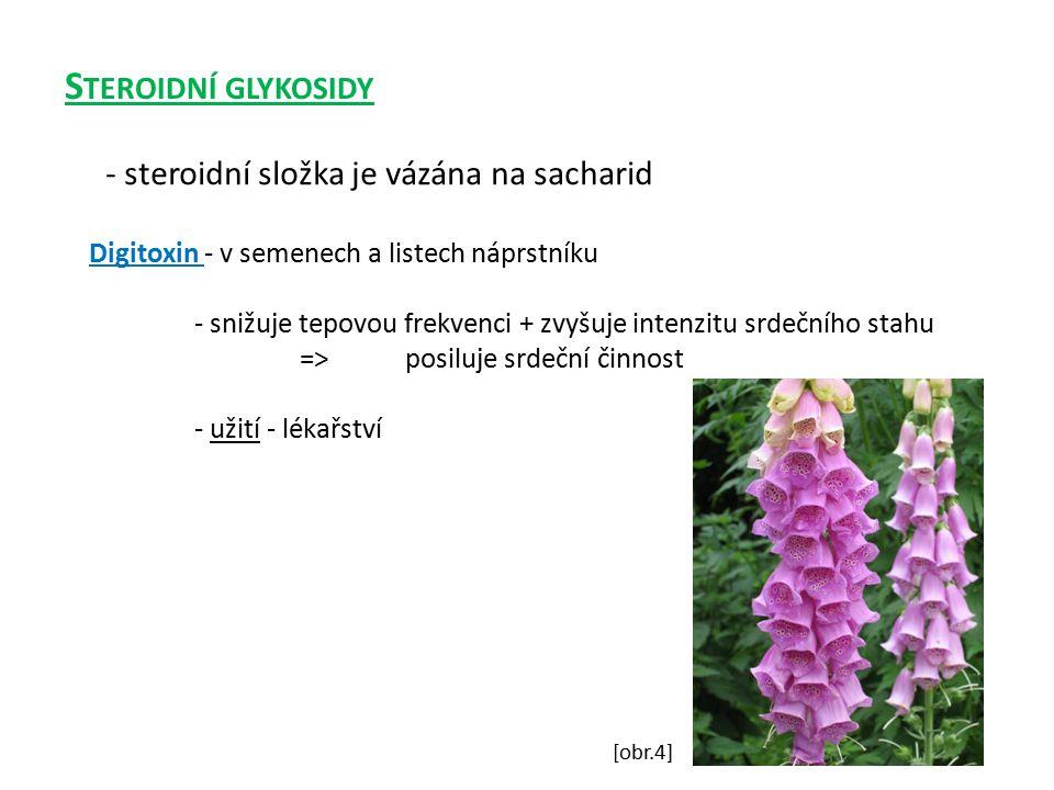 Steroidní glykosidy - steroidní složka je vázána na sacharid