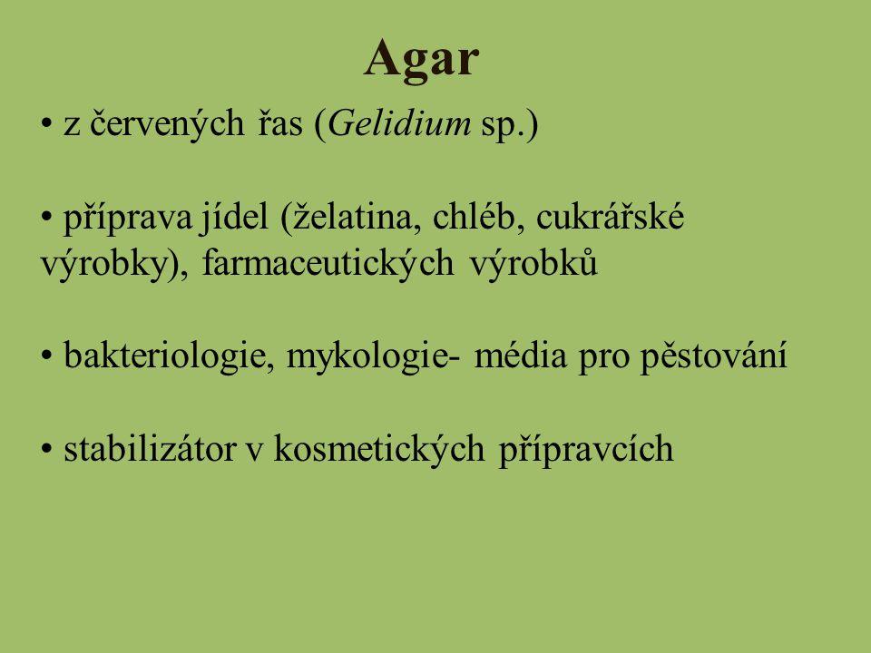 Agar z červených řas (Gelidium sp.)