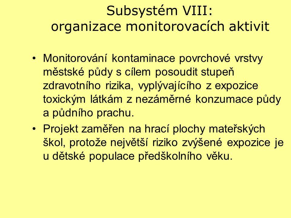 Subsystém VIII: organizace monitorovacích aktivit