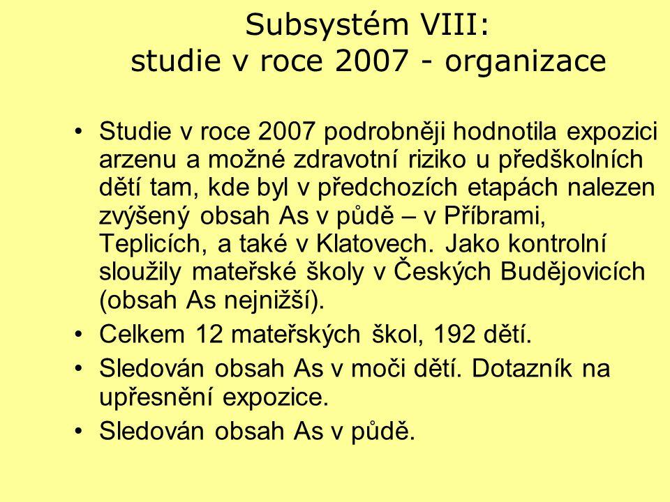 Subsystém VIII: studie v roce 2007 - organizace