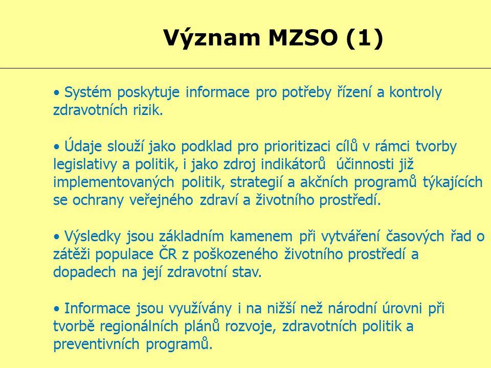 Význam MZSO (1) Systém poskytuje informace pro potřeby řízení a kontroly zdravotních rizik.