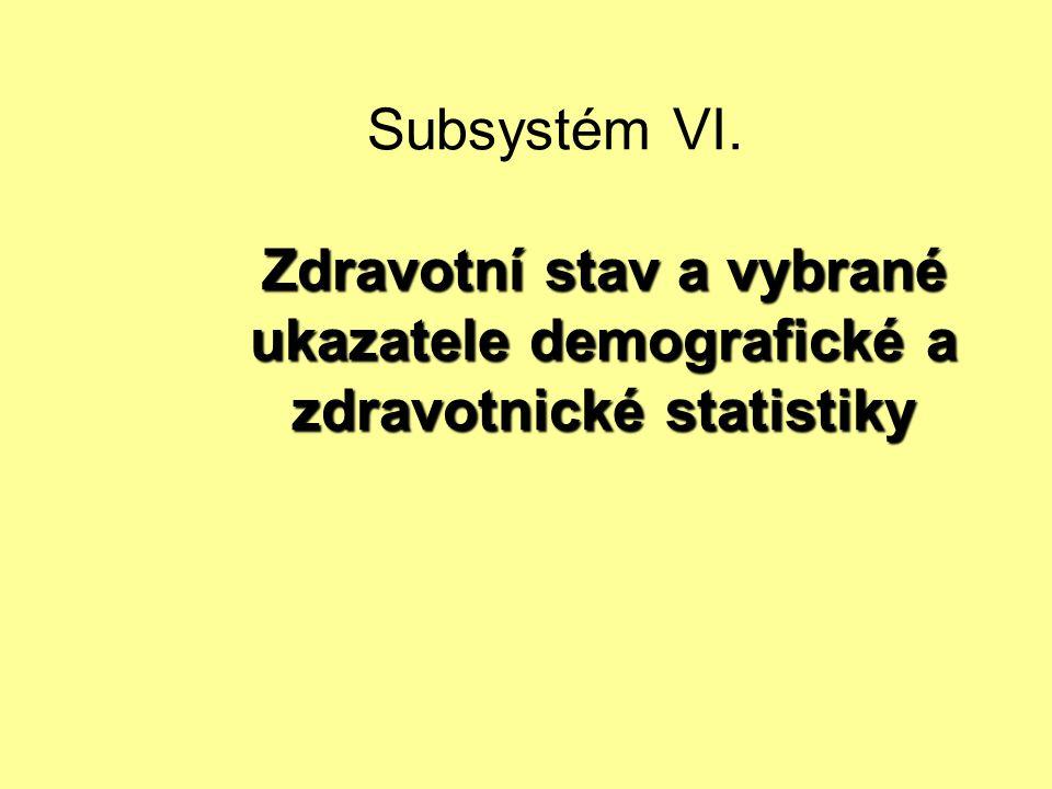 Subsystém VI. Zdravotní stav a vybrané ukazatele demografické a zdravotnické statistiky