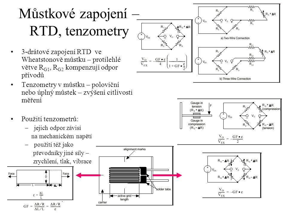 Můstkové zapojení – RTD, tenzometry