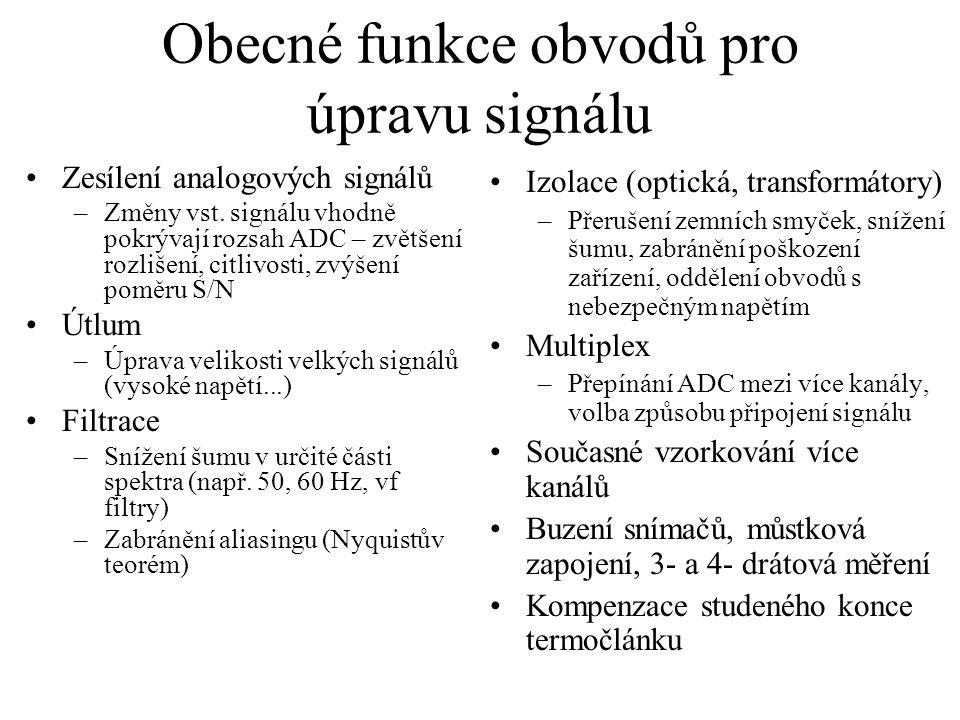 Obecné funkce obvodů pro úpravu signálu