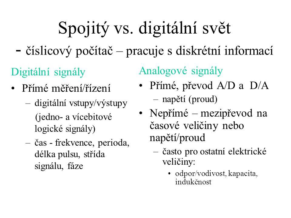 Spojitý vs. digitální svět - číslicový počítač – pracuje s diskrétní informací