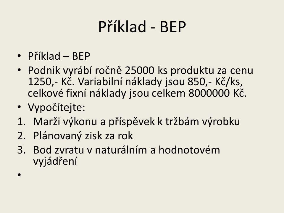 Příklad - BEP Příklad – BEP