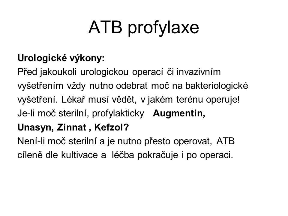 ATB profylaxe Urologické výkony: