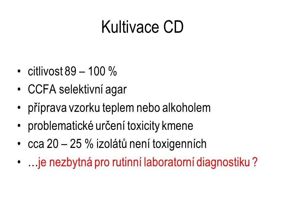 Kultivace CD citlivost 89 – 100 % CCFA selektivní agar