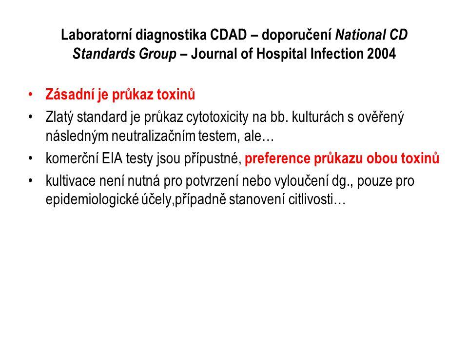 Laboratorní diagnostika CDAD – doporučení National CD Standards Group – Journal of Hospital Infection 2004