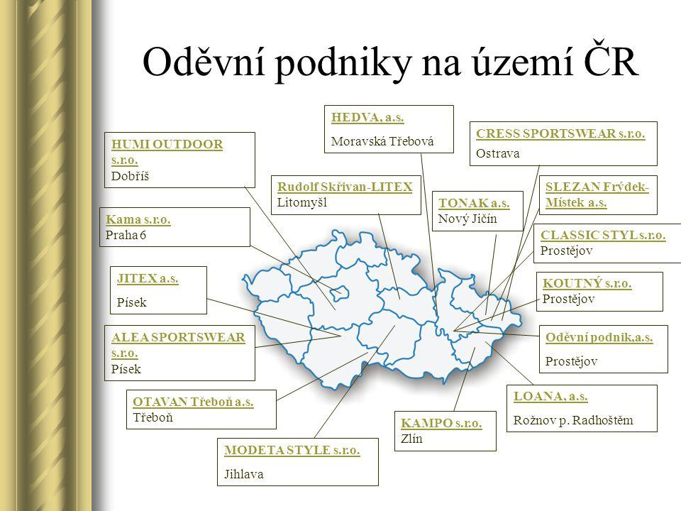 Oděvní podniky na území ČR
