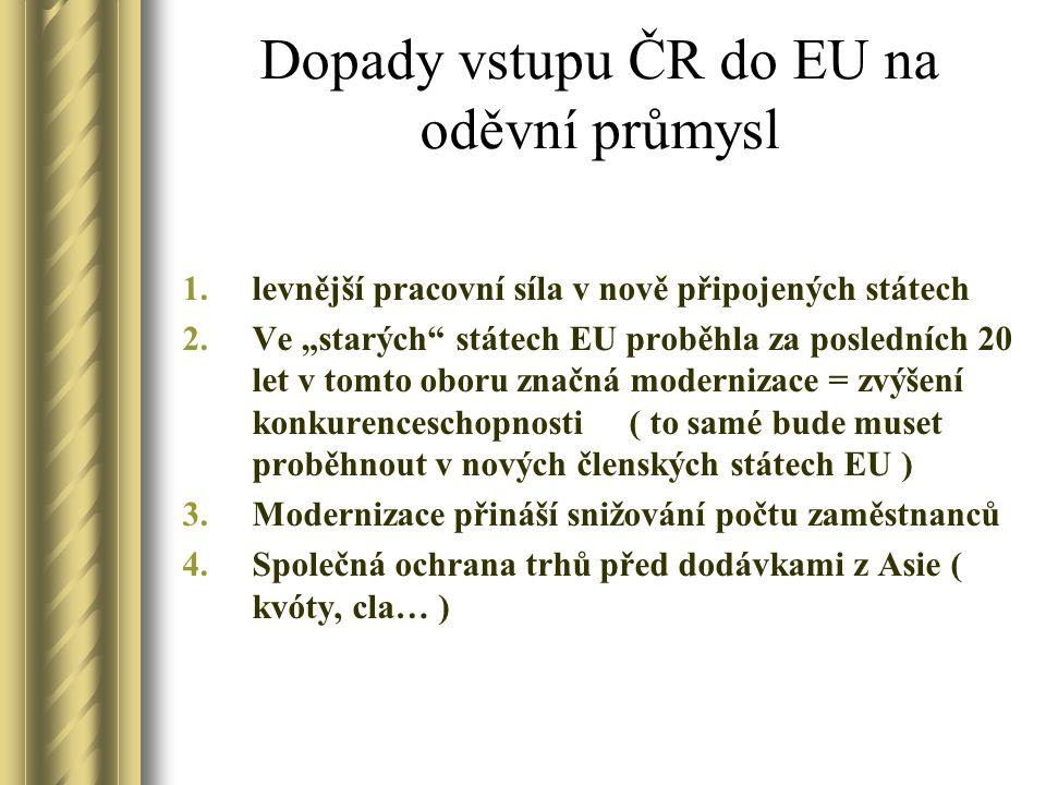 Dopady vstupu ČR do EU na oděvní průmysl