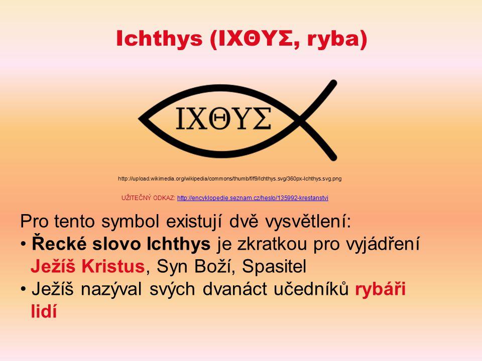 Ichthys (ΙΧΘΥΣ, ryba) Pro tento symbol existují dvě vysvětlení: