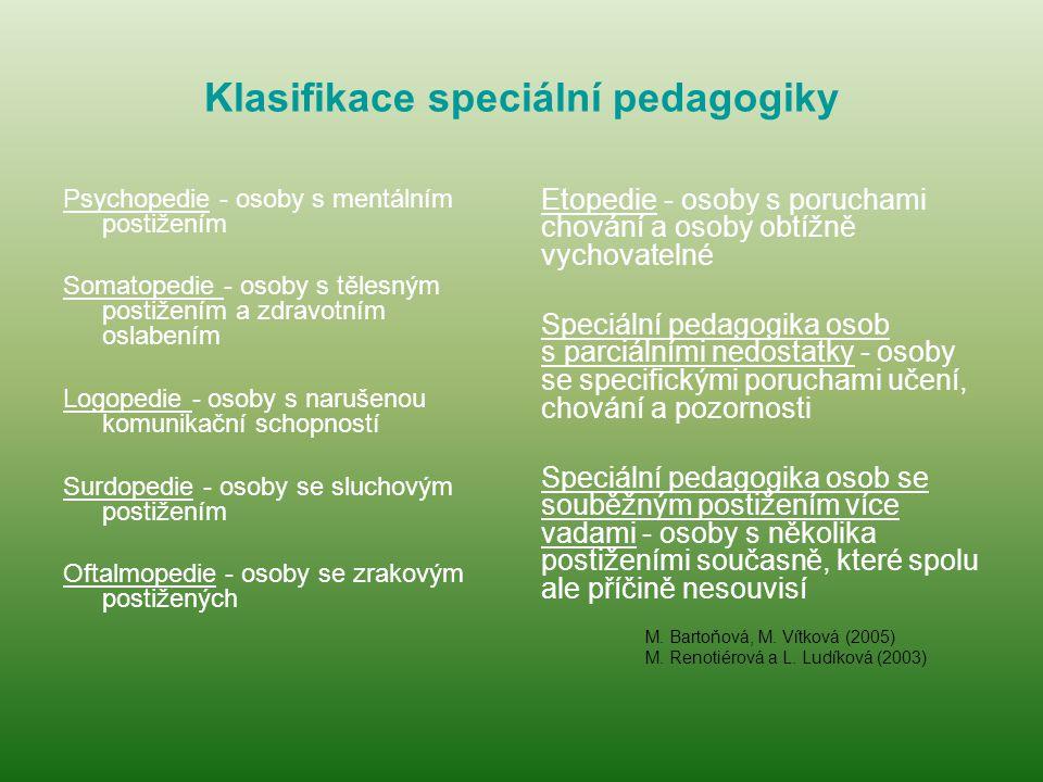 Klasifikace speciální pedagogiky