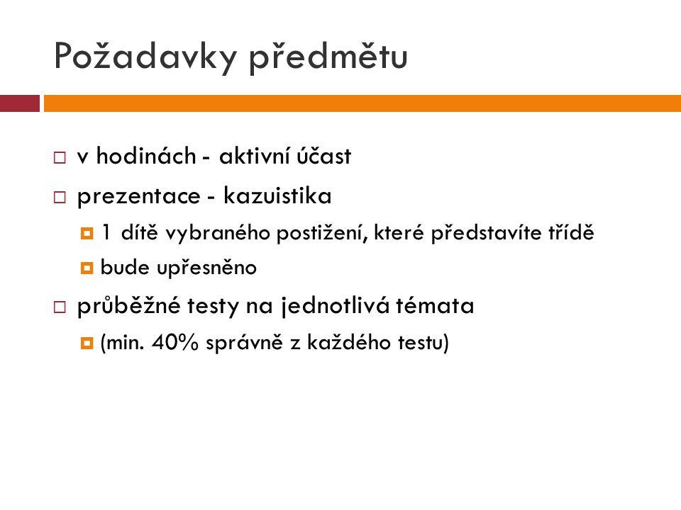 Požadavky předmětu v hodinách - aktivní účast prezentace - kazuistika