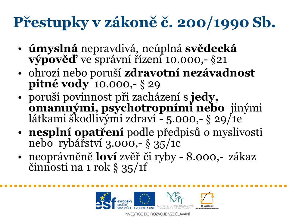 Přestupky v zákoně č. 200/1990 Sb.