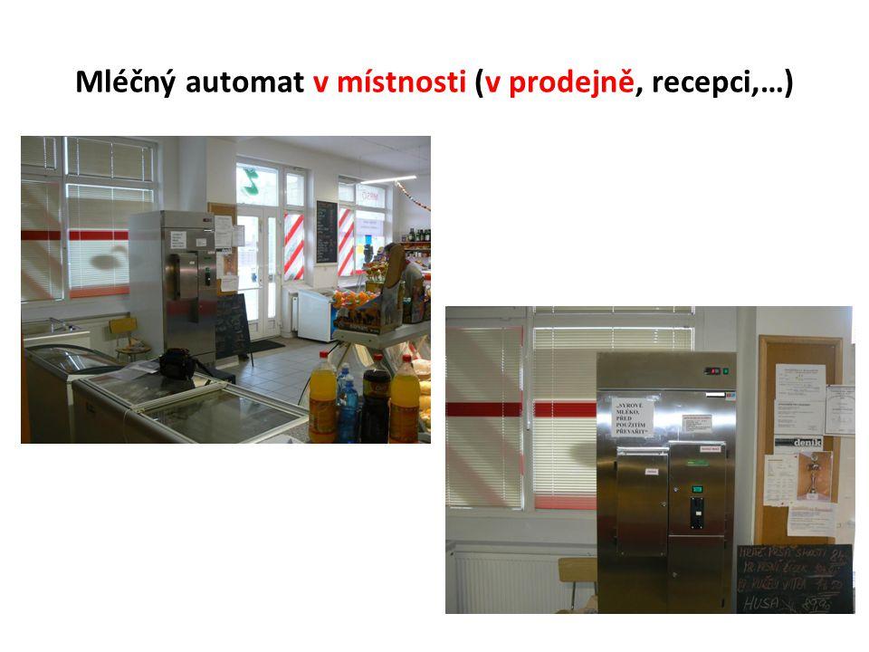 Mléčný automat v místnosti (v prodejně, recepci,…)