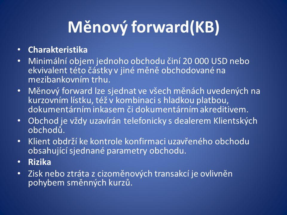 Měnový forward(KB) Charakteristika