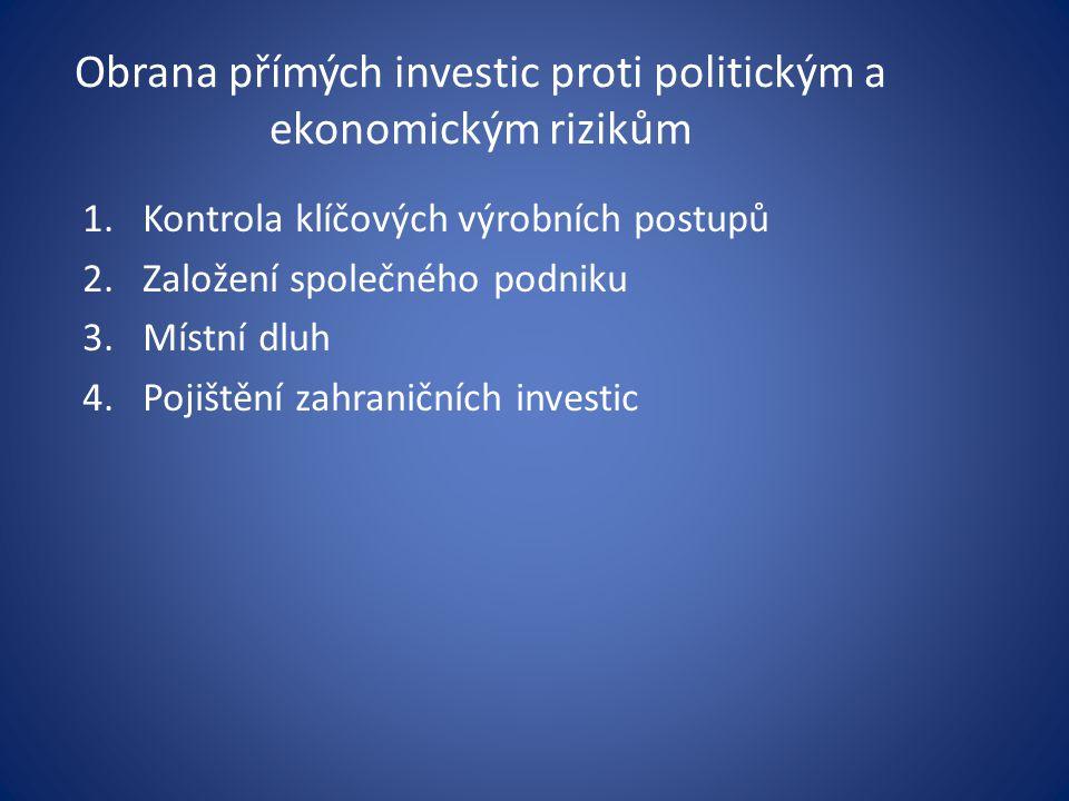 Obrana přímých investic proti politickým a ekonomickým rizikům