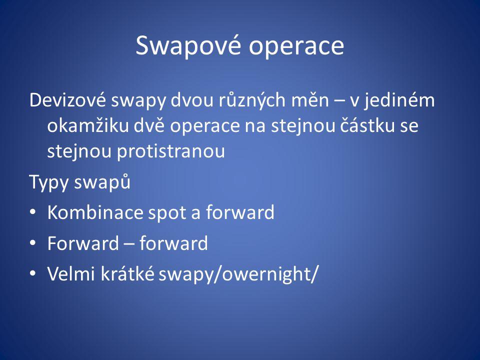 Swapové operace Devizové swapy dvou různých měn – v jediném okamžiku dvě operace na stejnou částku se stejnou protistranou.