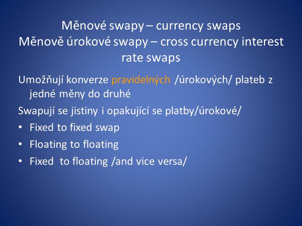 Měnové swapy – currency swaps Měnově úrokové swapy – cross currency interest rate swaps