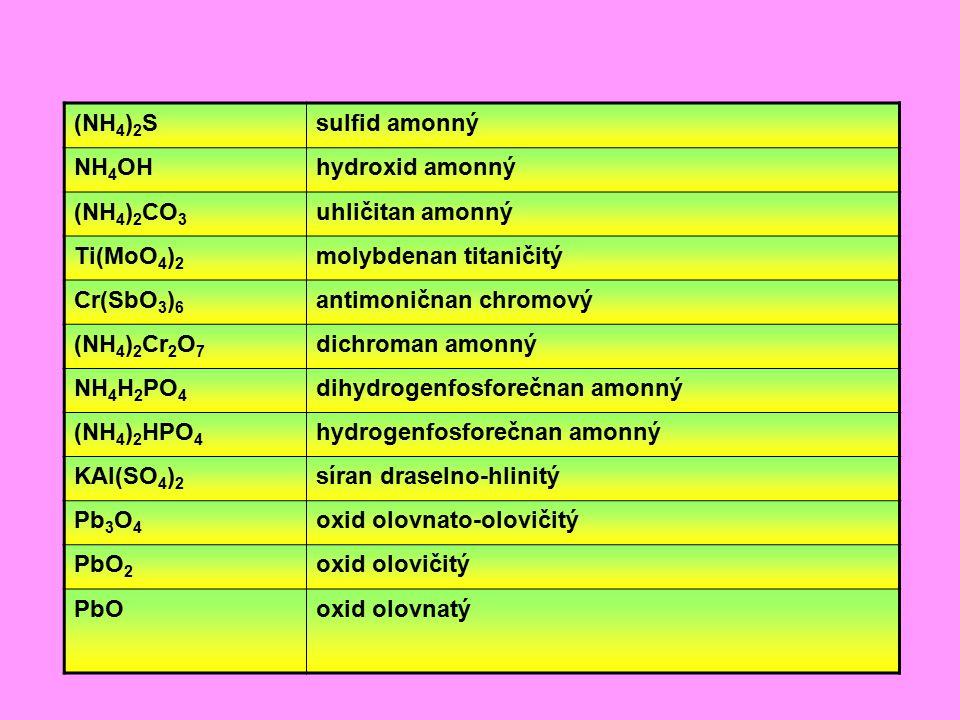 (NH4)2S sulfid amonný. NH4OH. hydroxid amonný. (NH4)2CO3. uhličitan amonný. Ti(MoO4)2. molybdenan titaničitý.