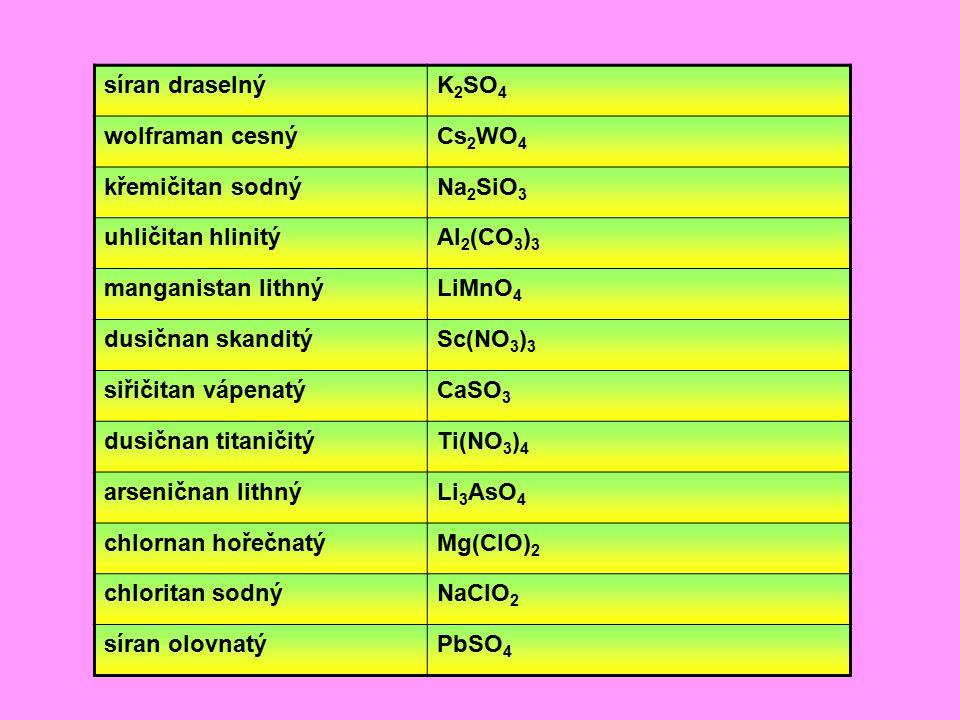 síran draselný K2SO4. wolframan cesný. Cs2WO4. křemičitan sodný. Na2SiO3. uhličitan hlinitý. Al2(CO3)3.