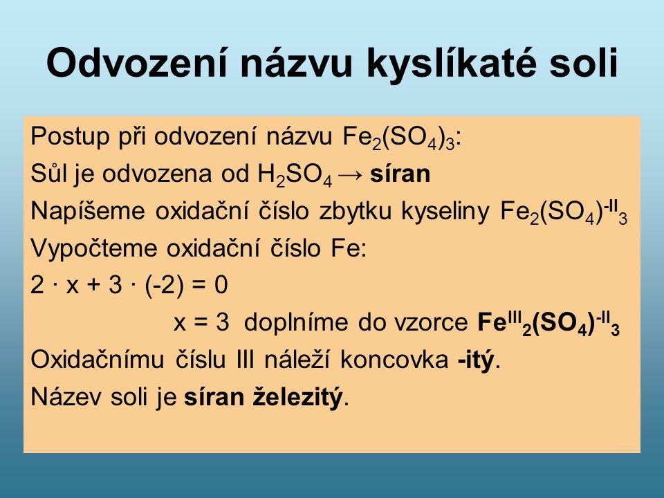 Odvození názvu kyslíkaté soli