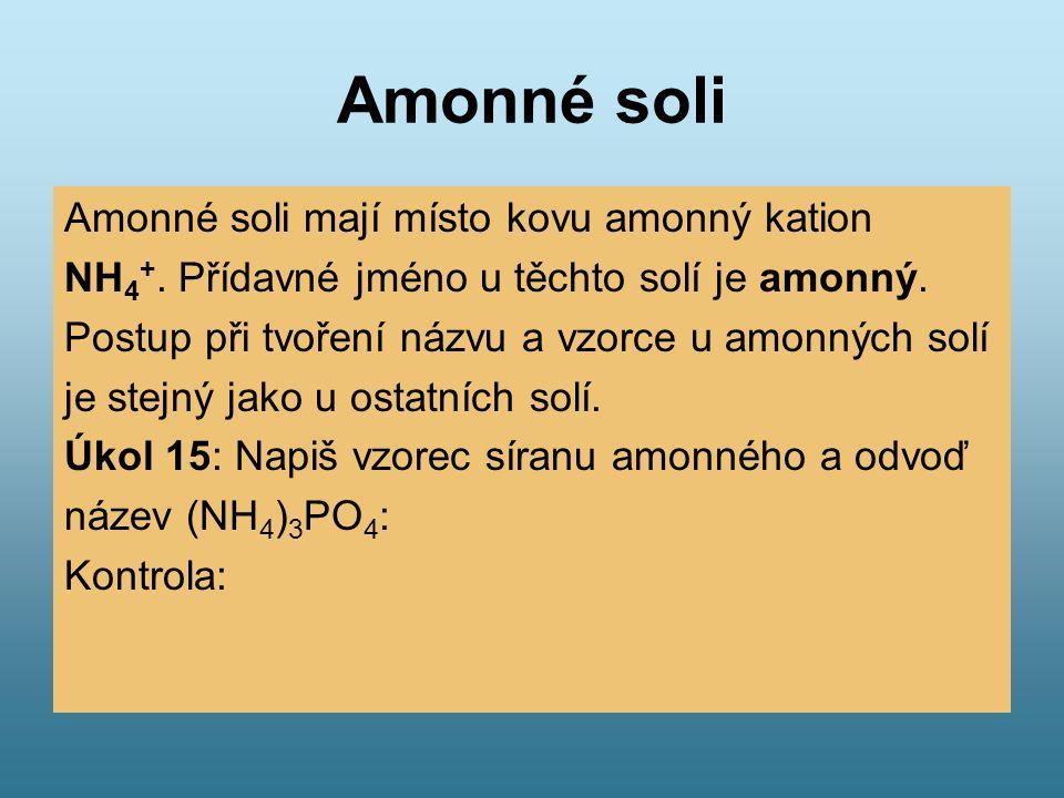 Amonné soli Amonné soli mají místo kovu amonný kation
