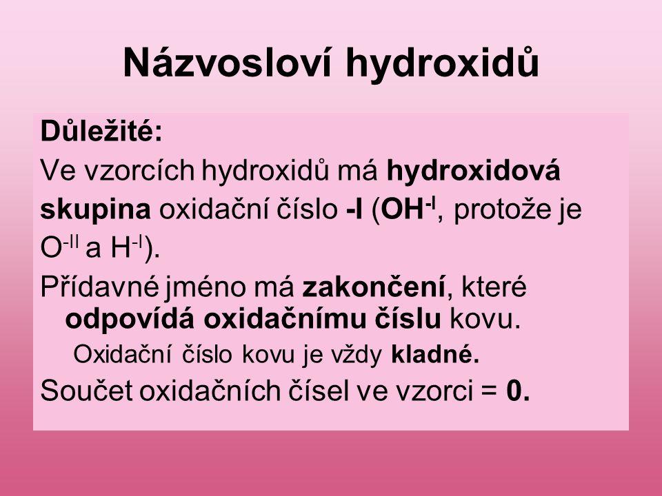 Názvosloví hydroxidů Důležité: Ve vzorcích hydroxidů má hydroxidová