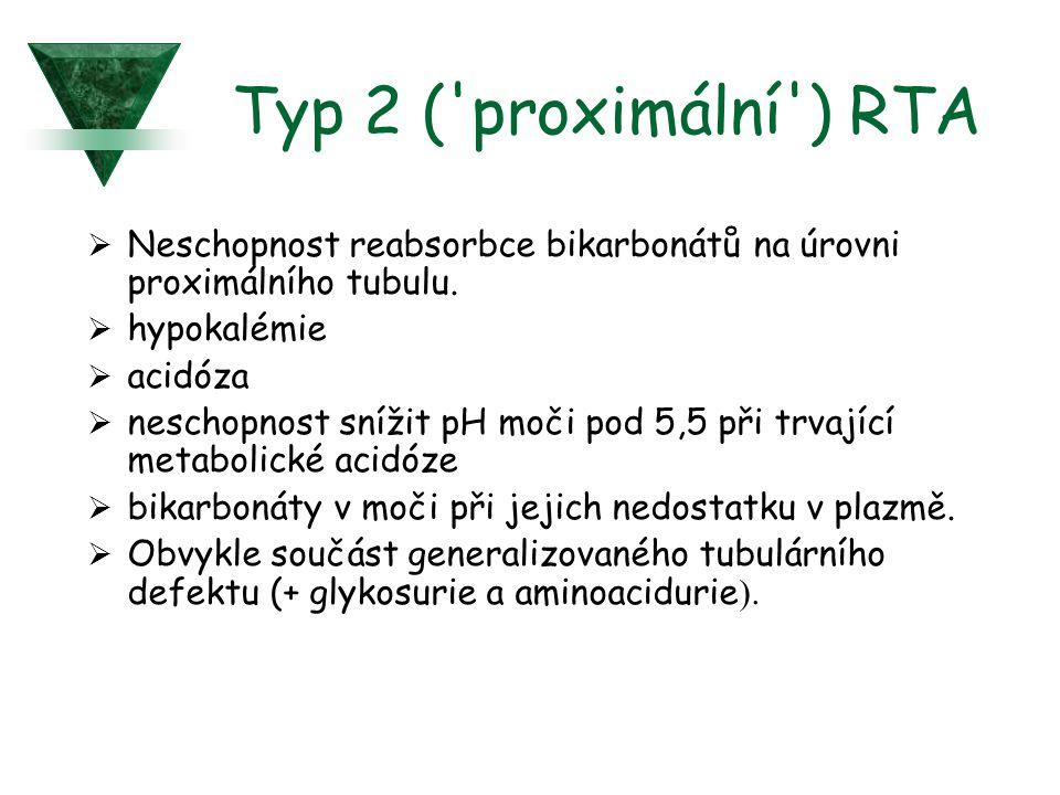 Typ 2 ( proximální ) RTA Neschopnost reabsorbce bikarbonátů na úrovni proximálního tubulu. hypokalémie.