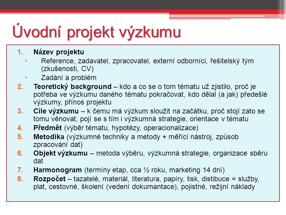 Úvodní projekt výzkumu