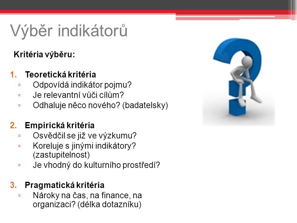 Výběr indikátorů Kritéria výběru: Teoretická kritéria