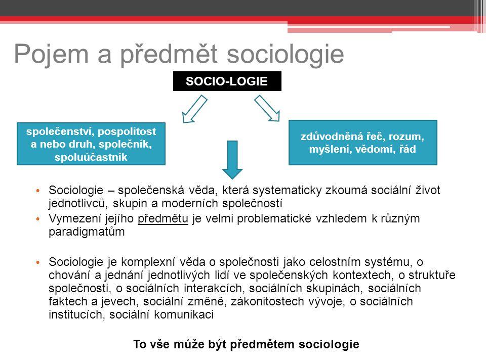 Pojem a předmět sociologie