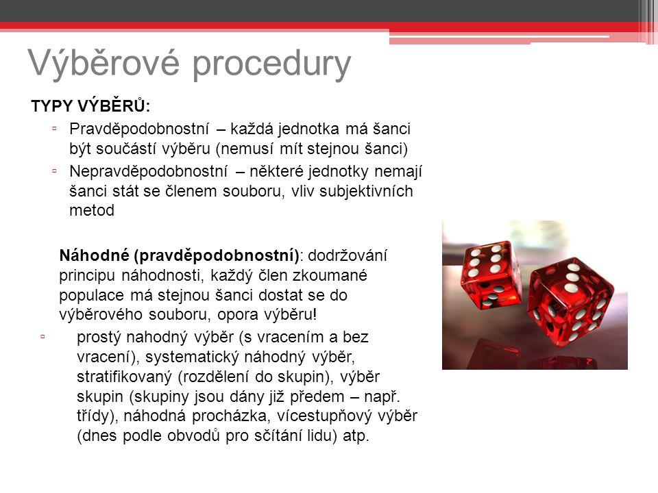 Výběrové procedury TYPY VÝBĚRŮ: