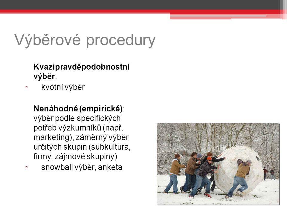 Výběrové procedury kvótní výběr